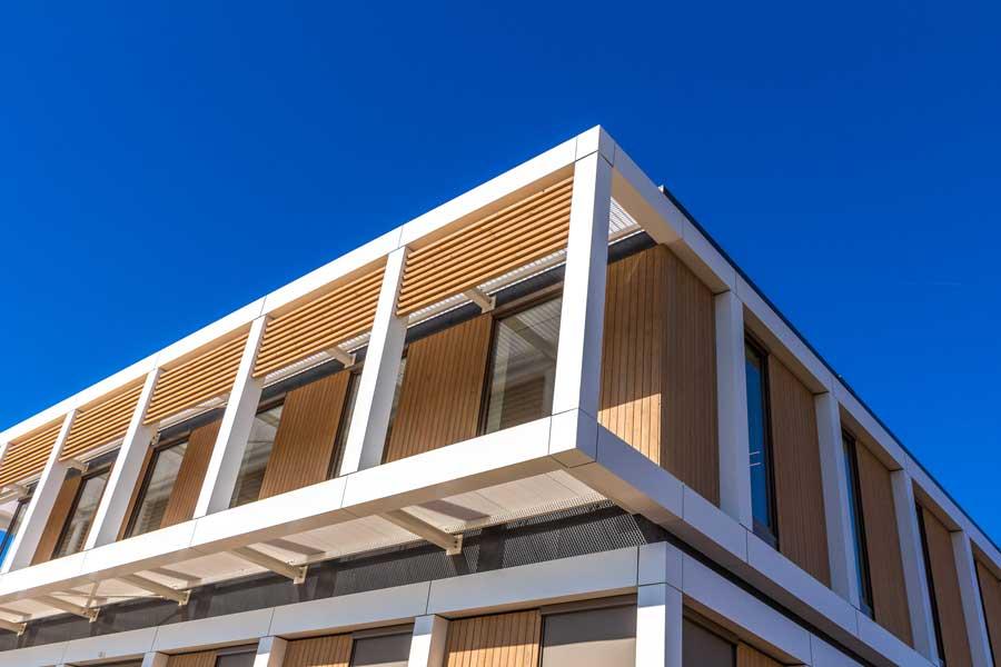 Bresc, SoulWood, houten gevelbekleding, etalbond, kantoor, VM Geveltechniek